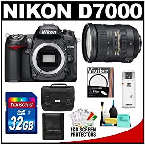 Nikon D7000 Digital SLR Camera Body with 18-200mm VR II Zoom Lens + 32GB Card + Filter + Case + Accessory Kit