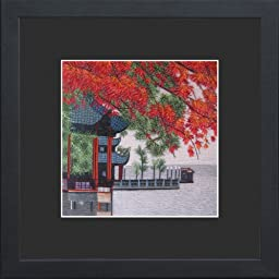King Silk Art 100% Handmade Embroidery Beautiful Quiet West Lake Tower Red Maple Leaf Scenery Chinese Print Framed Wildlife Landscape Painting Oriental Gift Asian Wall Art D¨¦cor Artwork Tapestry Hanging Picture Gallery 37034BFB1