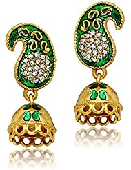 Traditional Ethnic Green Paisley Jhumki Gold Plated Dangler Earrings With Crystals For Women By Donna ER30133G