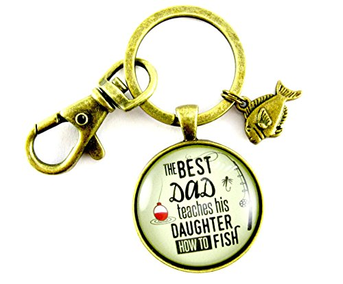 The Best Dad Teaches His Daughter How to Fish Fathers Day Fishing Keychain Dad Gift From Daughter 1.20