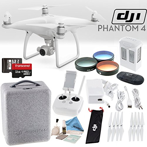 DJI Phantom 4 Quadcopter Starters Bundle w/ Polar Pro Filter Kit & Transcend 32GB MicroSD Card