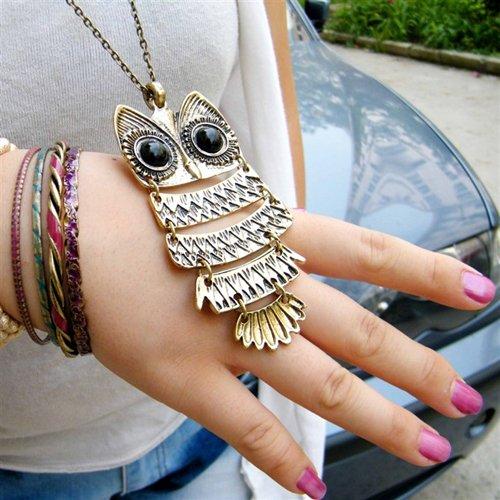 Retro Style Necklace Bronze Owl Pendant Perfect