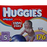 Huggies Snug & Dry - Size 5, Over 27lb - 176 Diapers