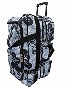 Wheeled Holdall 30 inch Floral Luggage Bag on Wheels 605FGrey