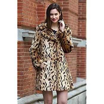 Jmueh Women's Elegant Vintage Leopard Print Lapel Faux Fur Coat Mid-Length