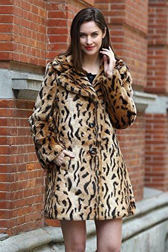 Jmueh Women's Elegant Vintage Leopard Print Lapel Faux Fur Coat Mid-Length 1