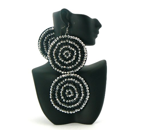 Black with Silver Two-Tone Circle Poparazzi Iced Out Light Weight Basketball Wives Earrings Lady Gaga Paparazzi