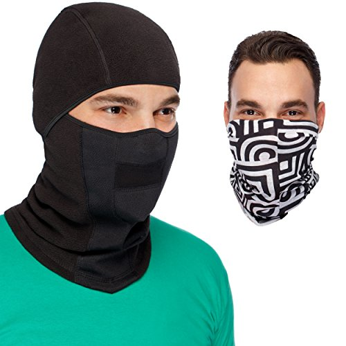 MaxPro Balaclava Ski Mask + Versatile Sports/Casual Headband Premium Bundle. Black Balaclava Ski Mask + Magic Scarf/ Winter Face Mask,Large/X-Large