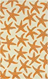 2' x 3' Starfish Delight Burnt Orange and Beige Hand Hooked Outdoor Patio Area Throw Rug
