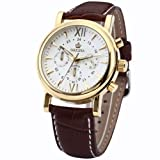 Orkina Mens White Dial 6 Hands Golden Case Sport Quartz Wrist Watch Gift