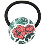 Pink Lips Green Musk Art Nuvo Rose Blossom Printed Silk Screen Woven Fabric Covered Button Hair Elastic