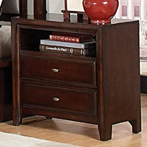 Nightstand with Open Compartment in Dark Mahogany Finish