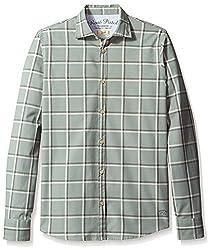 Rosé Pistol Men's Long Sleeve Victorville Checked Shirt, Sage, M