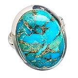 Blue Copper Composite Turquoise, Turquoise Bleue Composite Cuivre Argent Sterling 925 Bague 7