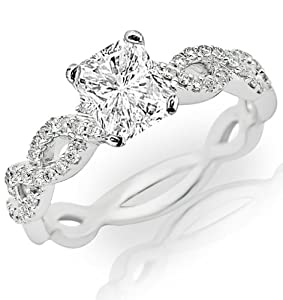 0.77 Carat Radiant Cut / Shape 14K White Gold Eternity Love Twisting Split Shank Diamond Engagement Ring ( H-I Color , SI1 Clarity )