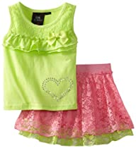 Self Esteem Girls 2-6X Crochet Lace Tank, Lime/Pink, 6