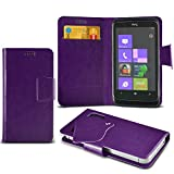 (Purple) HTC 7 Trophy Super Thin Faux Leather Suction Pad Wallet Case Cover Skin With Credit/Debit Card Slots By Spyrox