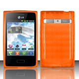 TRENDE - LG Optimus Dynamic L38G / LG Optimus Logic L35G Case Orange TPU Rubberized Durable Slip-on Cover + Free Gift Box (Compatible Models: LG Optimus Zone (VS410PP), L38G, L35G, L38C)