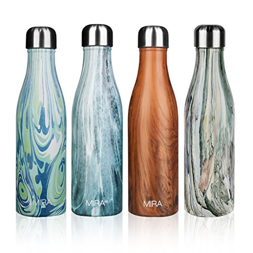 17 Oz (500 ml) Vacuum Insulated Water Bottle | Double Walled Stainless Steel Cola Shape Travel Water Bottle - BPA Free, Keeps Your Drink Hot & Cold | Wood Print | by MIRA