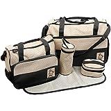 TechnoTec Multi-Function Baby Diaper Nappy Bag/ Mummy Changing Set Handbag (Pack of 5, Black)