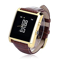 LEMFO Bluetooth Leather Smart Watch with Camera IPS Screen 360mAh Battery Waterproof for IOS iPhone Android Smartphone (Gold)
