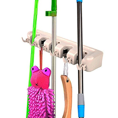 NEW Mop Holder Hanger 5 Position Home Kitchen Storage Broom Organizer Wall Mounted (Broom Closet Shelf compare prices)