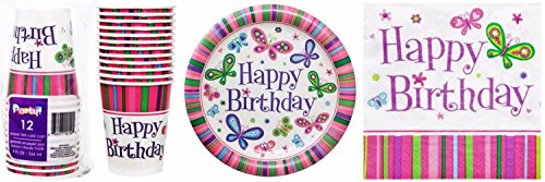 Butterfly Happy Birthday Party Supplies (Paper Plates, Cups and Napkins)