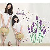 Purple Dandellion Floral Nature Wall Art Sticker For Living Room