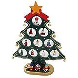 クリスマスツリー 卓上 木製 スモールサイズ 小さくて かわいい 楽しい サンタ 付き 洗練された 木製ツリー テーブル キッチン パーティー オリジナル ミニツリー(グリーン)