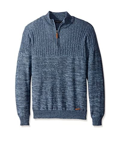 London Fog Men's 1/4 Zip Marled Textured Sweater