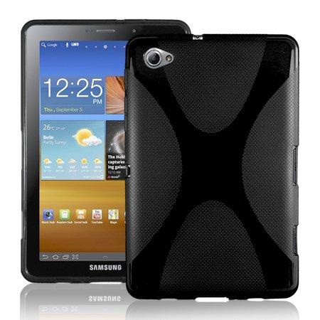 Silikonhülle Tasche Cover Hülle Case für das Ultra Slim Samsung Galaxy Tab 2 P3100 & P3110 inkl. Displayfolie X-Style Black