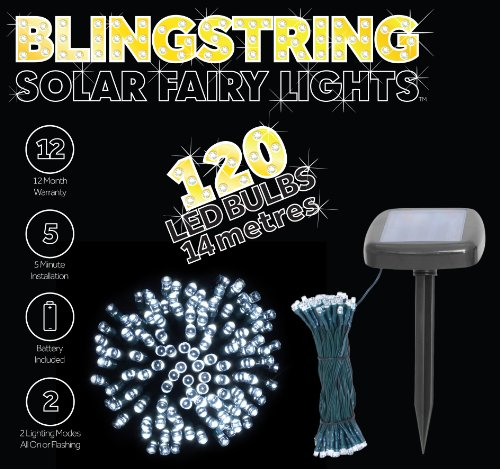 Blingstring Outdoor Solar Fairy Lights with 120 LED Bulbs