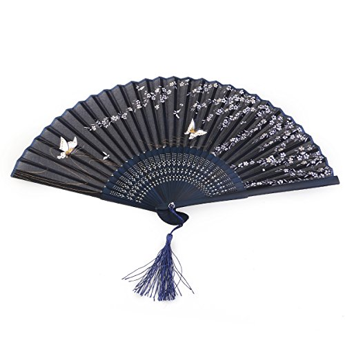 Tinksky Women Folding Fan Hand Fan with Tassel Wedding Party Gift (Butterfly Sakura) (Butterfly Hand Fan compare prices)