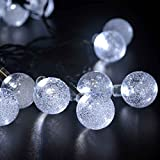 lederTEK Solar Outdoor String Lights 20ft 30 LED White Crystal Ball Solar Powered Globe Fairy Lights for Garden Fence Path Landscape Decoration (30 LED White)