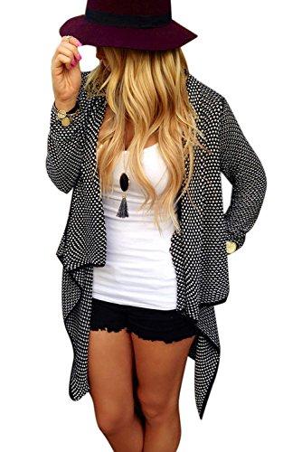 Minetom Cardigan A Maniche Lunghe Da Donna Loose Casual Jacket Elegante In Maglia Irregolare Maglione Sweatercoat ( Nero IT 40 )