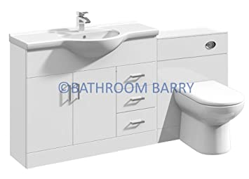 1650mm Modular High Gloss White Bathroom Combination Vanity Basin Sink Cabinet, WC Toilet Furniture & BTW Pan