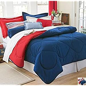 Dorm Bedding Set: Dorm-Room-In-a-Box: Comforter, Sheet Set, Mattress Pad, Pillow, Towel set - Navy Red - Twin XL 10 Pc SET