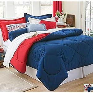 Dorm Bedding Set: Dorm-Room-In-a-Box: Comforter, Sheet Set, Mattress Pad, Pillow, Towel set - Navy Red - Twin XL 10 Pc SET
