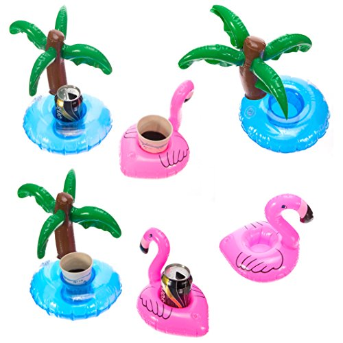 Cazul Goods Inflatable Pool Drink Holder - 3 pieces Flamingo and 3 pieces Palm Tree Design (Set of 6)