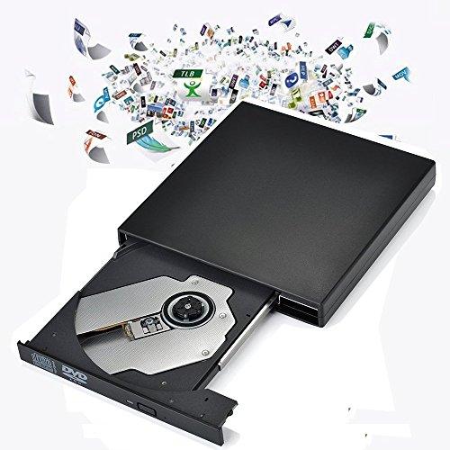 Elephant xu® USB2.0lettore esterno USB esterno Slim Nero + COMBO Drive DVD Masterizzatore CD-R/RW, CD-ROM/XA DVD-ROM + Cavo di alimentazione, supporta CD non Bisogno CD-ROM Drive per computer, notebook, TV e porta USB Device