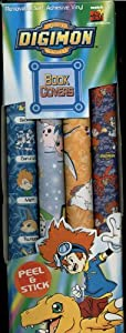 Digimon Book Covers - 4 Pack - Peel and Stick Removable Self Adhesive Vinyl