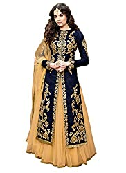 Caffoy Cloth Company Womens Dark Blue Color Bangalori Silk Heavy Embroidered Bollywood Designer Anarkali Salwar Suit For Wedding.