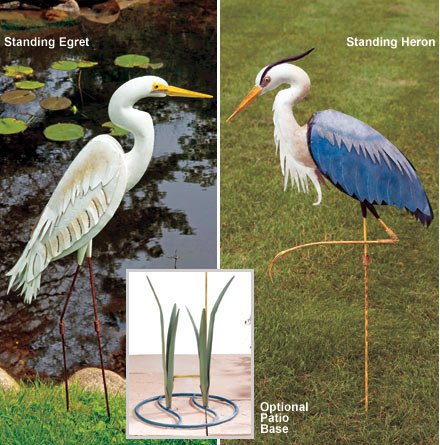 Garden Stake Handcrafted 3D Decor Heron Blue (40H) - Regal Art #R282