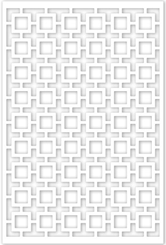 Acurio Lattice Retro Squares Outdoor Decor Panel Screen, White, 48 x 32 x 1/4
