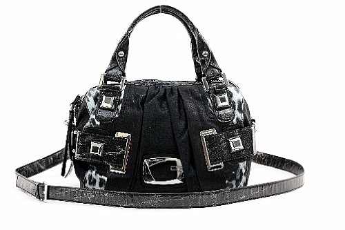 Guess Lioness Box Bag Coal Ladies Vinyl Handbag Purse SI250719