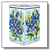 Amia Glass Vase/Votive, Hand-Painted Bluebonnet Floral Design