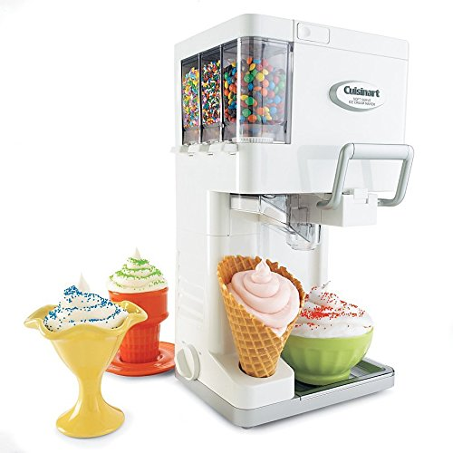 Cuisinart Soft Serve Ice Cream Maker with Fully Automatic Double Insulated Freezer Bowl and 3 Built-In Condiment Holders with Built-In Cone Holder Included (Cuisinart Soft Ice Cream Maker compare prices)