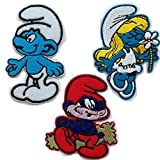 Embroidered Iron/sew on Patch Cloth Applique Set of 3 (Smurf) (Color: Smurf)