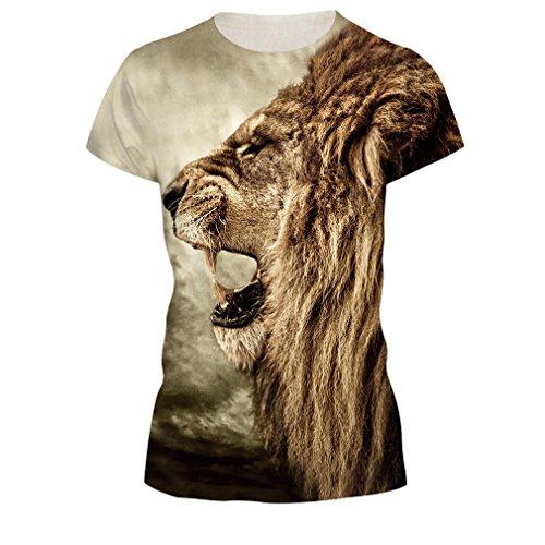 Colorful 3D Cartoon Printed Short Sleeve T-Shirt Fashion Couple Tees Size XL