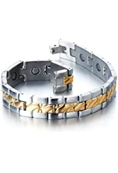 Stainless Steel Men's Jewelry Magnetic Link Bracelet for Men Gold Silver Two Tone